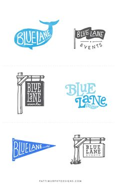 Blue Lane Events Logo Exploratory // Patti Murphy Designs 2014 - - illustration in logo - logo design - branding - logo mark - Connecticut event planning business - wedding planner logo design