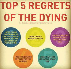 Top 5 regrets of the dying. Don't wait till it's too late to live like you are dying.