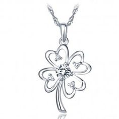 Glamourous Blooming Flower Women's Sterling Silver Necklace - USD $53.95