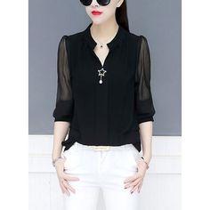 Solid Elegant V-Neckline Long Sleeve Blouses (1645358171)  #Blusen #Damenmode #Oberteile