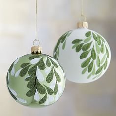 tear drop painted mistletoe glass ornament ball