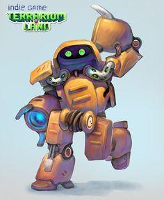 "Robot T.I.X. Main Hero of the ""Terrarium-land"" indie game. #terrarium_land, #gamedev, #indiedev, #conceptart, #scifi, #robots,"