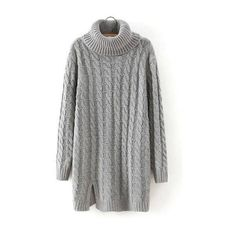 Cable Knit Long Sleeve Longline Sweater in Gray (150 MYR) ❤ liked on Polyvore featuring tops, sweaters, turtle neck sweater, grey turtleneck sweater, grey turtleneck, cable knit turtleneck and cable turtleneck sweater