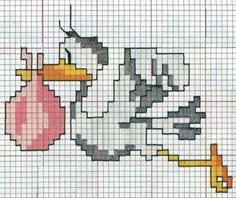 This Pin was discovered by עלי Baby Cross Stitch Patterns, Cross Stitch For Kids, Mini Cross Stitch, Cross Stitch Charts, Baby Patterns, Knitting Patterns, Wool Baby Blanket, Knitted Baby Blankets, Stork