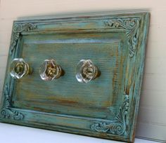 Coastal Cottage Blue Wall Rack with Antique Glass Knobs repurposeing cabinet doors Old Cabinets, Cabinet Doors, Painted Furniture, Doors Repurposed, Wall Racks, Door Crafts, Cabinet Door Crafts, Cabinet Doors Repurposed, Doors