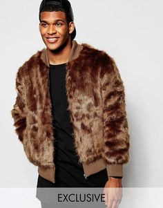 The New County | The New County Faux Fur Bomber Jacket at ASOS