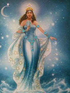 Yemena, Goddess of the Sea, Art - Goddesses, Muses Oshun Goddess, Isis Goddess, Yemaya Orisha, Orishas Yoruba, Sacred Feminine, Believe In Magic, Mermaid Art, Gods And Goddesses, Stars And Moon