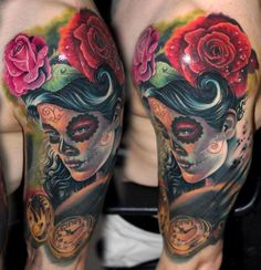 Colorful sugar skull tattoo on arm