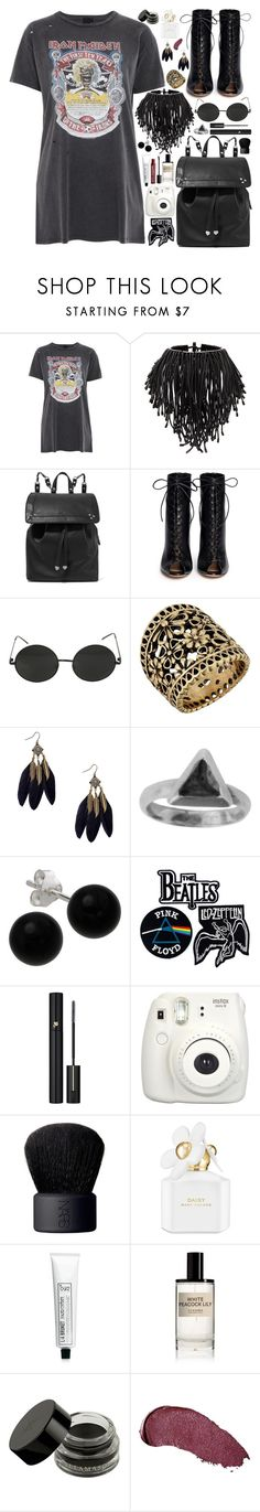 """C O N C E R T / /"" by queen-laureen ❤ liked on Polyvore featuring Topshop, Monies, Jérôme Dreyfuss, Gianvito Rossi, Hot Topic, Lucky Brand, Zoemou, Bridge Jewelry, Floyd and Lancôme"