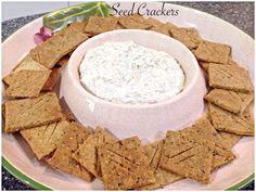 Seed Crackers Bellini Recipe, Crackers, Hummus, Feta, Seeds, Cheese, Canning, Ethnic Recipes, Pretzels