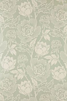 Peony is a classic english floral pattern drawn from century pure silk woven jacquards Based on the ornamental Peony flower this sumptuous and curvaceous design brings contemporary glamour to a traditional and romantic floral print Farrow Ball, Farrow And Ball Paint, Bathroom Wallpaper, Home Wallpaper, Wallpaper For Kitchen, Number Wallpaper, Sage Green Wallpaper, Green Floral Wallpaper, Farmhouse Wallpaper
