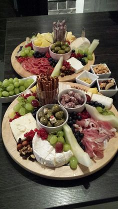 Party platter/antipasti with cheese, meat and fruit