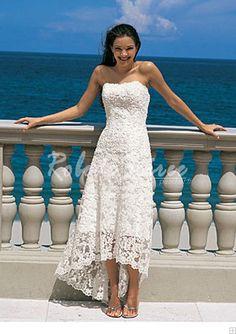 Robe de Mariée Plage-élégantes robes A-Line/Princess bretelles asymétriques de mariée en satin