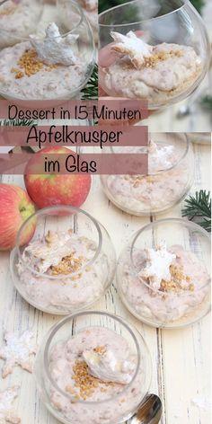 Bist du auf der Suche nach einem schnellen Dessert, dass köstlich schmeckt und nicht kompliziert ist? Dann habe ich das perfekte Dessert für Dich. Ein Apfelknusper Dessert im Glas mit einem Spekulatiusboden, einer leichten Frischkäse-Joghurt-Schokoladencreme, kandierten Früchten und kleinen Apfelstücken. In nur 15 Minuten ist das Dessert fertig und kann sofort Serviert werden. Ein winterlicher Traum im Glas! #dessertimglas #weihnachten #dessert #schnell #einfach #deutsch Sweet Bakery, Fabulous Foods, Camembert Cheese, Dairy, Recipes, Yogurt, Bakken, Ripped Recipes
