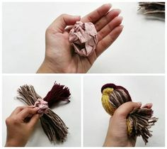 Pour faire un oiseau en laine, ajoutez une boule de papier pour faire le corps.