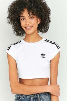 55e5fd788b79 adidas Originals 3 Stripe White Crop Top
