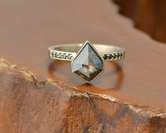 Geometric Black Diamond Engagement Ring by PointNoPointStudio