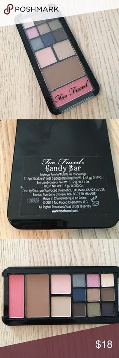 Too faced candy bar palette Brand new. Never even swatched. 11 eye shadows. One bronzer and one blush. Came as a set with a cell phone case for an iPhone 5 but I do not have the case. It is priced accordingly. Too Faced Makeup Eyeshadow
