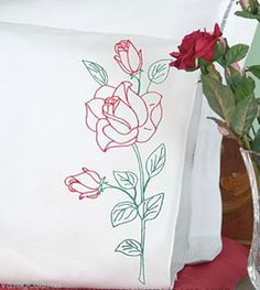 Jack Dempsey Stamped #Embroidery LONG STEM #ROSE #Pillowcases ♥ #ebay #sale #floral #gift #home #bedroom #bedding #linen #craft #DIY #create #project #handcraft #handmade #needlework #stitching #madeinusa
