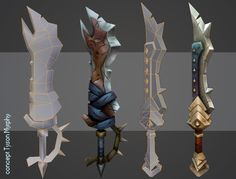 Hand Painted Weapons by ricedeviantart