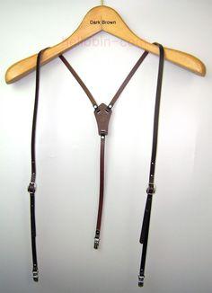 New Genuine Leather Suspenders Mens Women Clip-on Y-Back Braces Retro Dark-Brown
