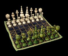 Abstract Tulip Style Set with Ashtāpada Board from the Dr. George and Vivian Dean Collection of over 1,000 rare historical chess sets.