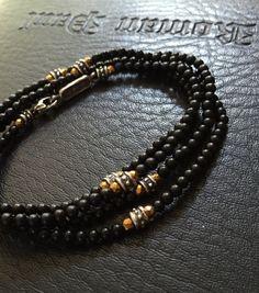Bracelet - Multi Wrap Onyx and Golden Hematite by Roman Paul #romanpaul