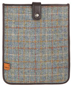 Simon Carter, Blue and Brown Harris Tweed iPad Case. Old meets new. Stylish.