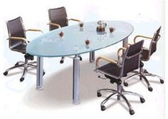 Gill-B Oval Conference Table This glass and aluminum oval #conferencetable gives a fresh modern feel to your office space.