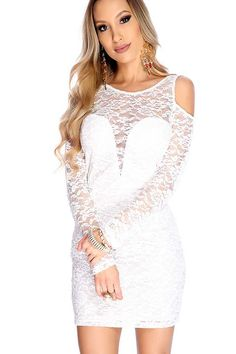 #FashionVault #diamond clubwear #Women #Dresses - Check this : Sexy White Long Sleeve Floral Mesh Overlay Party Dress for $29.99 USD