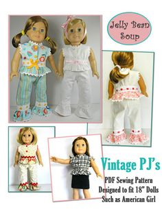 Jelly Bean Soup Designs Vintage PJ's Doll Clothes Pattern 18 inch American Girl Dolls | Pixie Faire