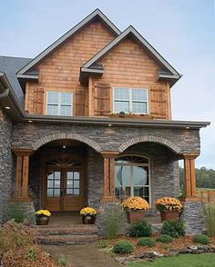 Architecture Discover Plan This Plan Exudes Tradition Plan Country Traditional Premium Collection Photo Gallery Craftsman Luxury Narrow Lot House Plans & Home Designs Style At Home, Future House, Narrow Lot House Plans, Villa, House Goals, Home Fashion, Log Homes, Exterior Design, Rustic Exterior