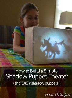 Cover the puppet theater with a piece of paper, put in front of table or shelf, put light on table/shelf