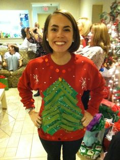 homemade ugly christmas sweater the tree is a cut up bandana