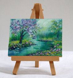 River in Floral Woods 3x4 original oil painting by valdasfineart