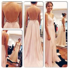 Spaghetti Straps V Neck Pink Backless Prom Dress,Sexy Long Evening Dresses,Chiffon Floor Length Women Gown