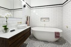 The Block 2016 - Week 3 Main Bathroom Reveals Bathroom Renos, Laundry In Bathroom, Bathrooms, Bathroom Ideas, The Block Bathroom, The Block 2016, Art Deco Decor, Studio Interior, Interior Design