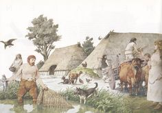 Links onder in de afbeelding zie je een man die met behulp van een fuik aan het vissen is. Een fuik was een nieuwe uitvinding in die tijd. Rechts op de afbeelding zie je nogmaals hoe de dieren worden gebruikt. De dieren zijn het belangrijkste onderdeel van de veeteelt. Veeteelt was een middel van bestaan.