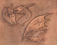 Craftaid, Template, Leather Pattern, Leathercraft Pattern, Leathercraft Supplies, 2-headed dragon