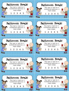 Bathroom Pass Per Sheet Printable Classroom Tool Grades K