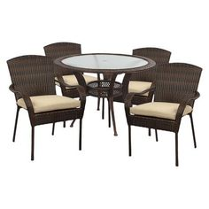Barcelona Wicker 5-Piece Round Patio Dining Set I'm pinning for a chance to win a gift card in the Women's Health Pin to Win Your Summer Wish List Contest! #PinToWinYourSummerWishListContest