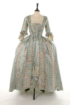 Ephemeral Elegance | Striped Satin Robe a la Française, ca. 1770s via...
