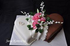 DORTY - Fotoalbum - Svatební dorty - Svatební dort Cake Structure, Heart Cakes, Cakes And More, Cake Designs, Wedding Anniversary, Cake Decorating, Wedding Cakes, Birthday Cake, Icing Decorations