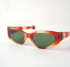vintage cat eye sunglasses stripes yellow by RecycleBuyVintage, $25.00