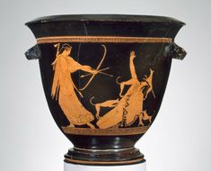 Greek Art | Museum of Fine Arts, Boston:  about 470 BC, the Pan Painter, Artemis shooting Actaion as he is torn to death by his own hounds.