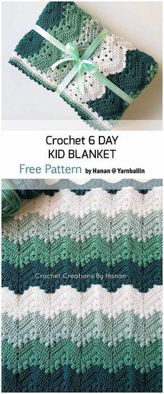 Crochet 6 Day Kid Blanket - Free Patterns   Crochet Baby Blanket #crochetpatterns #crochetblanket #crochetpatterns #crochetpatternsfree Crochet Diy, Crochet Afgans, Manta Crochet, Crochet Home, Crochet Crafts, Crochet Projects, Crochet For Baby, Boy Crochet, Doilies Crochet