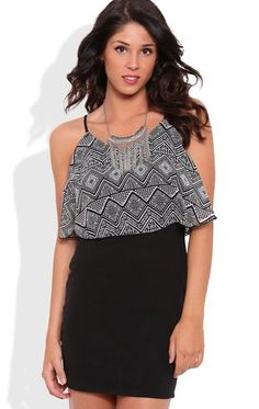 Deb Shops Ruffle Popover Dress with Tribal Bodice $30.00