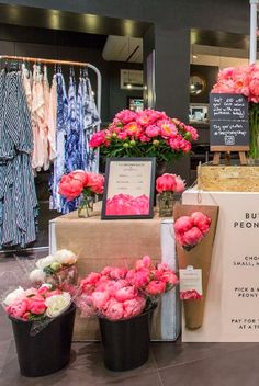 Our pop up meant you could come and pick and mix your peonies, with the option of a small, medium or large bouquet and six varieties of peonies. Pic by Bloom And Wild, Flower Bar, Floral Banners, Pick And Mix, Send Flowers, Pop Up Shops, Flower Delivery, Peonies