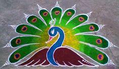 Rangoli Rangoli Designs Peacock, Indian Rangoli Designs, Rangoli Designs Latest, Rangoli Border Designs, Colorful Rangoli Designs, Rangoli Ideas, Rangoli Designs Images, Beautiful Rangoli Designs, Peacock Design