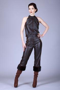 Brown Mink Trouser - Mariela Pokka - luxury fashion made of reindeer leather